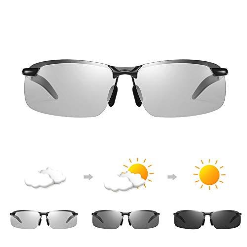 Gafas de Sol Gafas de Sol for Hombres adaptativa día y Noche Fotocromáticas Gafas de Sol polarizadas Universal con Templos autoajustable for la Pesca Drive (Color : Black Frame)