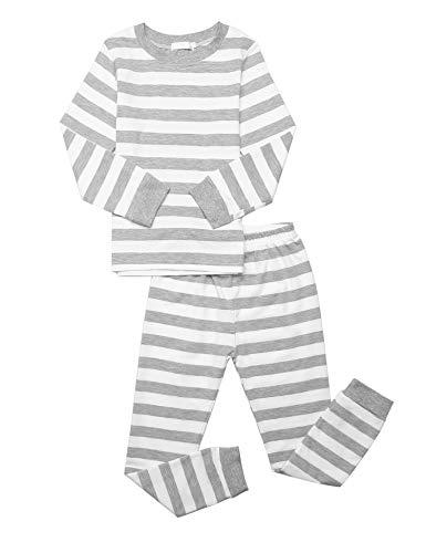 Bricnat Kinder Schlafanzug Lang Streifen Pyjama Set Baumwolle Mädchen Langarm Nachtwäsche Sweatanzüge für Unisex Kinder Kleidung Langarm