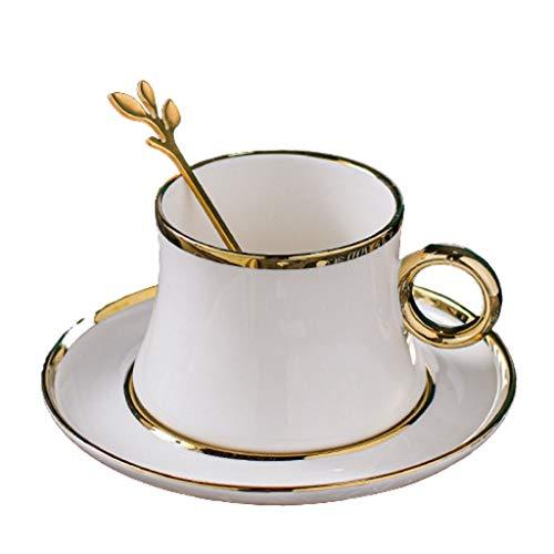Juego de taza de café de estilo europeo pequeño con cuchara simple taza de cerámica boutique taza de té británica elegante taza de color puro té conjunto de té restaurante casa hotel (color: blanco)