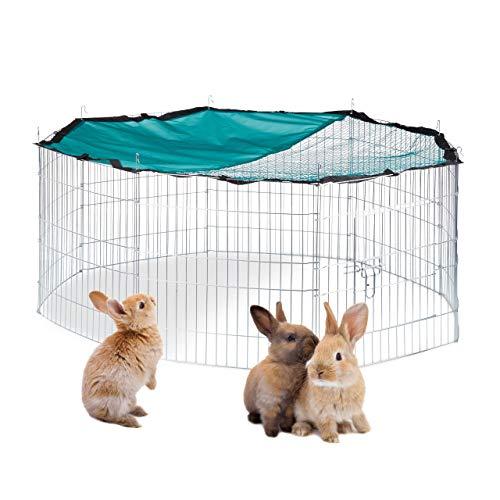 Relaxdays Recinto XL per Conigli con Copertura in Rete, per Conigli e Roditori, con Parasole, D 145 cm, Argento