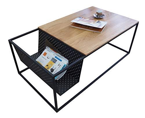 Lumarc Ravenna, Tavolino da Salotto in Legno Massello di Quercia Naturale dal Design Moderno Industriale Minimalista, Rettangolare, 110 x 60 x 40 cm (Rovere)