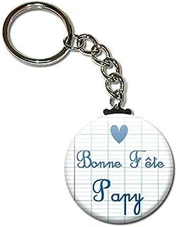 Bonne Fête Papy Porte Clés Chaînette 3,8 centimètres Idée Cadeau Accessoire Papi Fête des Grands Pères Noël Anniversaire