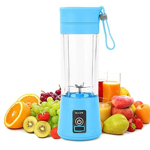XKMY Juicer Cup batidora portátil para jugo de frutas 4 6 cuchillas, mini USB recargable multifuncional para el hogar, jugo o estudiante licuadora (color: azul, voltaje (V) : 6 cuchillas)