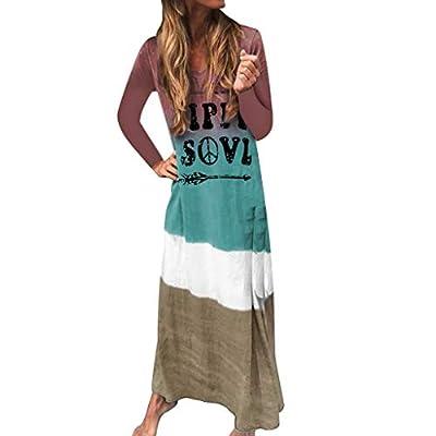 NANTE Top Loose Women's Dress Color Tie Dyeing Hippie Soul Print Long Dresses Long Sleeve Skirt Maxi Gown Sundress Beachdress