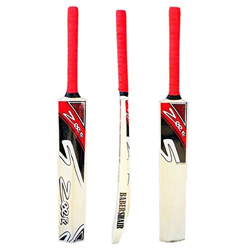 Zeepk Sports Cricket Bat Net Practice Tennis Ball Tape Ball Handcrafted Kashmir Willow Wood Full Adult Size Model RED BABERSHAIR