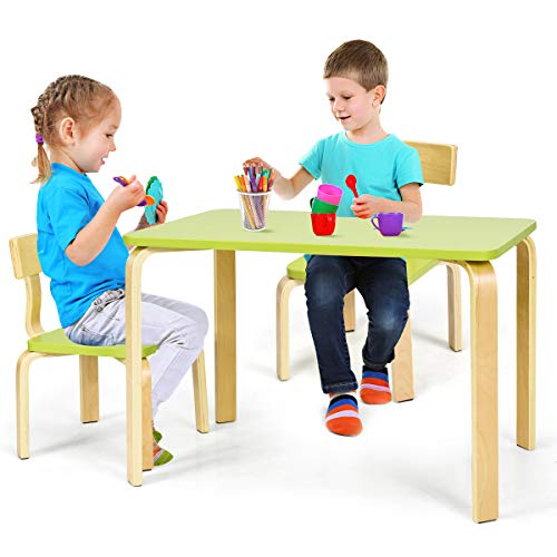 Costzon Kids Table and 2 Chair Set, Wooden Table Furniture for Toddlers Drawing, Reading, Train, Snack Time, Art Playroom, Children 3-Piece Kiddy Table & Chairs for Home School Classroom (Green)