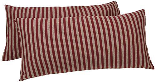 AmazonBasics - Kissenbezüge, Jersey, 2er-Pack, gestreift, 40 x 80 cm, Dunkelrot