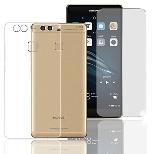 Eximmobile Silikon Hülle + Panzerfolie für Huawei Ascend Mate 7 Handyhülle mit 9H Echt Glasfolie Schutzhülle mit Schutzfolie Handytasche Silikonhülle Tasche Hülle Bildschirmschutzfolie Bildschirmschutz
