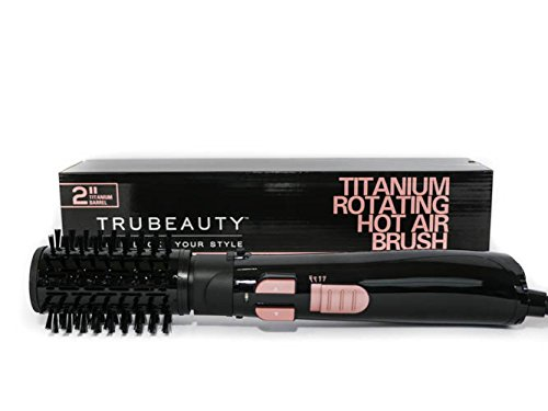 Tru Beauty, Rotating Hot Air Brush, Ceramic Coated 2-inch Barrel, 2-in-1 Blow Dryer and Styler - Titanium Black.