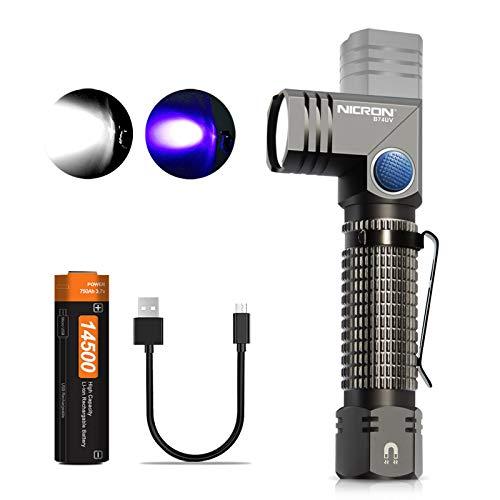 NICRON Linterna LED de luz negra, 700 lúmenes, cabezal giratorio de 90 grados, IP65, resistente al agua, 395 nm, ultra violeta, detector para manchas de orina secas de perros y gatos B74UV