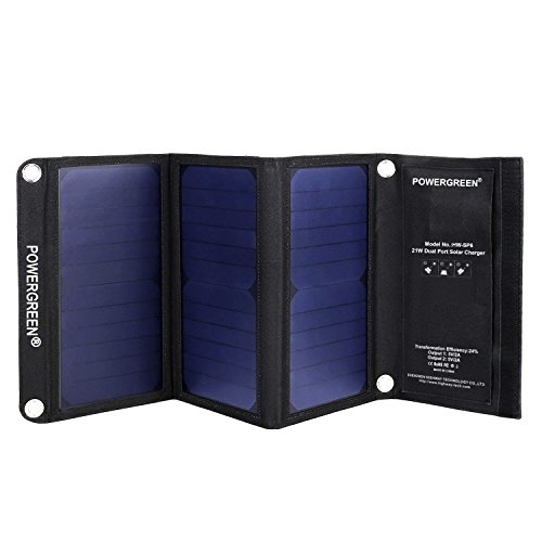 PowerGreen Solar Charger with Dual USB 21W Foldable SunPower High Efficiency Outdoor Solar Panel for Cell Phones and All 5V Digital Devices