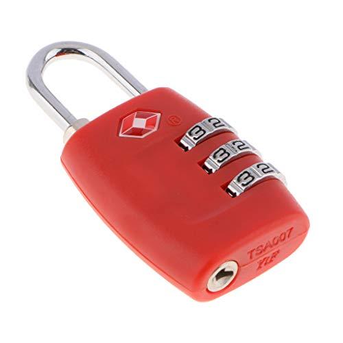 MERIGLARE TSA Resettabile 3 Cifre Combinazione Bagaglio Da Viaggio Valigia Serratura di Sicurezza - Rosso