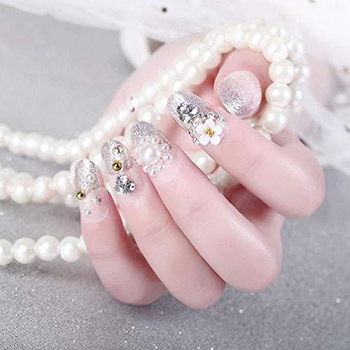 LHHYY nagels 24 stks/doos Mode Veiligheid Witte Bloem in Lange Bruid Zwangere Vrouw Foto Trouwjurk druk op nagel tips