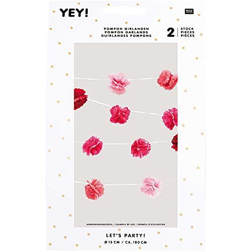 Rico-Design Tap pompon slinger, pastel, roze