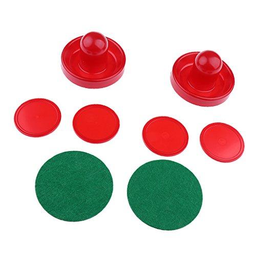 Gazechimp 2pcs Juegos de Air Hockey Pushers Embujadores +4pcs Pucks Discos de Hockey Sobre Hielo Fondo Forrado con Fieltro - Rojo, METRO ⭐