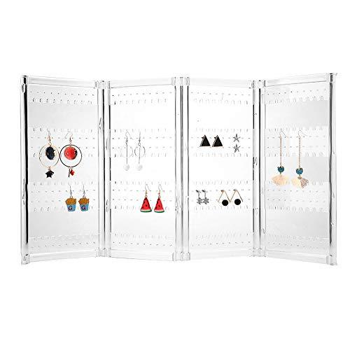 Faltbarer Ohrring-Schirm-Stand-Halter, 4 Platten-Schmuck-Halter-Ohrringe Ausstellungsstand-Ohrstecker Speichergestell-Organisator Ohrring-Halter-Ausstellungsstand-Organisator (Transparent)