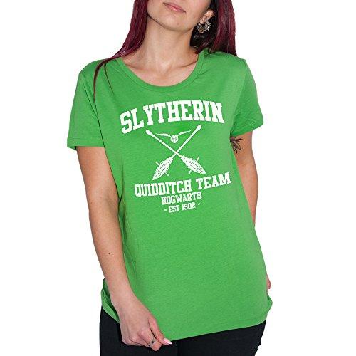 MUSH T-Shirt Slytherin Quidditch Potter - Donna-M Verde Prato