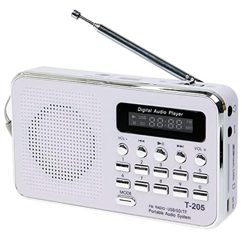 Radio FM Altavoz portátil de alta fidelidad con tarjeta digital Multimedia Mp3 Altavoz de música, apto para camping, senderismo, deportes al aire libre (blanco)