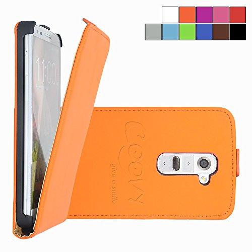 COOVY® Cover für LG G2 D802 Slim Flip Hülle Tasche Etui inklusive gratis Bildschirmschutzfolie   Farbe orange