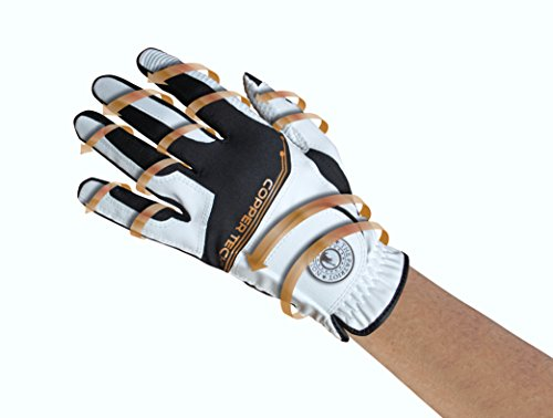 Copper Tech Gloves Male Copper Tech Golf Glove, White/Black, One Size Fits Most