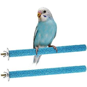 Support pour Perruche d'Oiseau Perchoirs Bâtons de Support d'Oiseau Perchoirs Interactifs pour Cage à Oiseaux pour Perruche Perroquet Cockatiel pour Formation en Cage (Bleu)