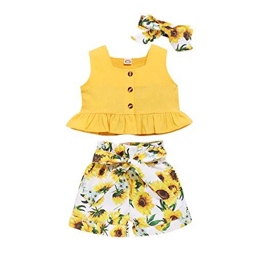 Kinder Baby Mädchen Solide Weste Sonnenblume Blumen Bogen Kurze Hose Outfits Set