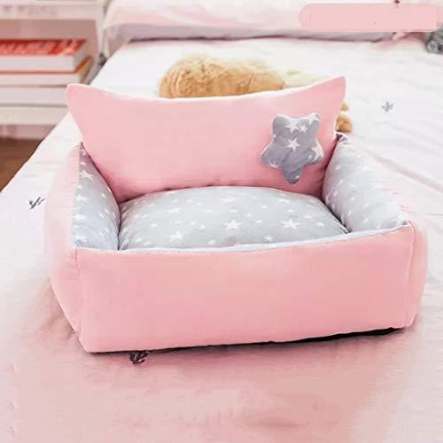KKCD Cama para Perros, Almohadilla para Mascotas Desmontable Y Cojín para Dormir para Gatitos Y Perros Pequeños, Casas para Perros Suaves Y Lavables (Color : C, Size : L)