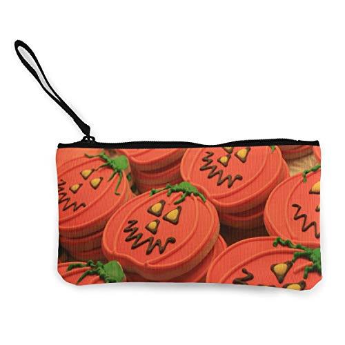 Wrution Halloween-Geldbörse mit Kürbis und Keksen, aus Segeltuch, mit Reißverschluss, kleine Geldbörse für Frauen, tragbar, große Kapazität