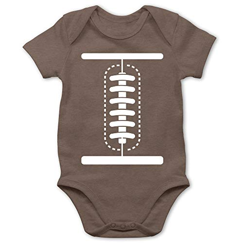 Shirtracer Karneval und Fasching Baby - Football Baby Kostüm - 3/6 Monate - Braun - Football Body - BZ10 - Baby Body Kurzarm für Jungen und Mädchen