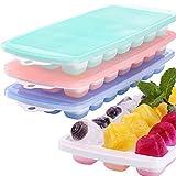3 confezioni di stampi per cubetti di ghiaccio in silicone con coperchio, senza BPA, forma cubetti di ghiaccio, vino, cioccolato e altre bevande, contenitore per cubetti di ghiaccio (21Cubes/Pack)