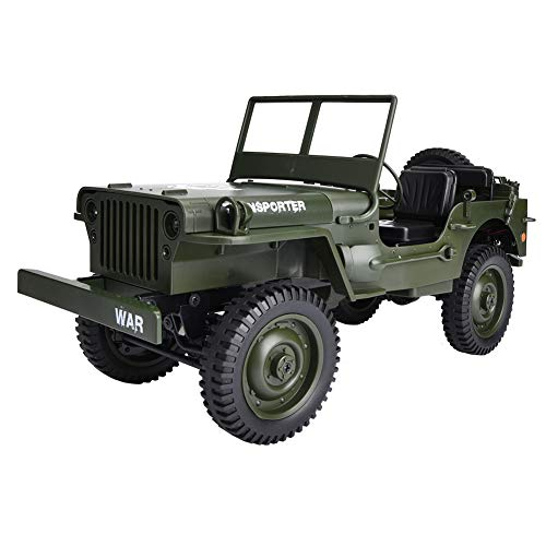 Wxlxj RC Car Jjrc Q65 2.4ghz RC Off-Road 4wd Camión Militar 1/10 Control Remoto De Control Eléctrico Control Remoto De Automóvil (Verde)
