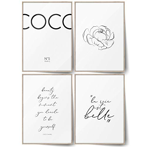 BLCKART Infinity Coco - Juego de pósteres de doble cara escandinavos modernos para salón, decoración de pared (Coco White - A4 - 4, sin marco)