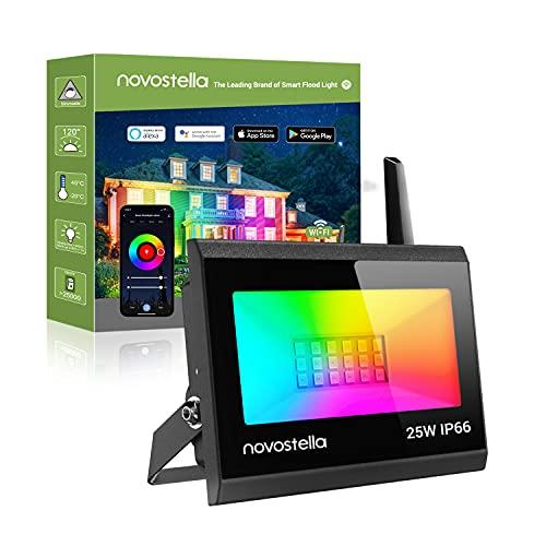 Novostella Blaze Faretto LED RGB Intelligente WiFi 25W, Proiettore LED Compatibile con Alexa e Google Controllo da APP 16 Milioni di Colori, Faro LED IP66 Impermeabile per Terrazza, Giardino