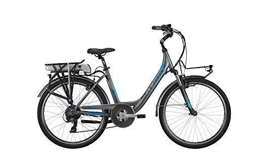 Atala E-Run FS 400 26' 2019 City Bike Tg 45 Anthracite/Light Blue Matte Front Bafang 36V, 250W