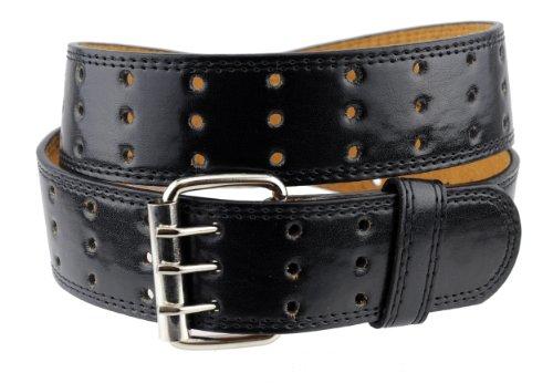 NYfashion101 Merveilleuse ceinture unisexe en cuir véritable à trois trous. Classique et intemporelle, cette ceinture se porte au quotidien.