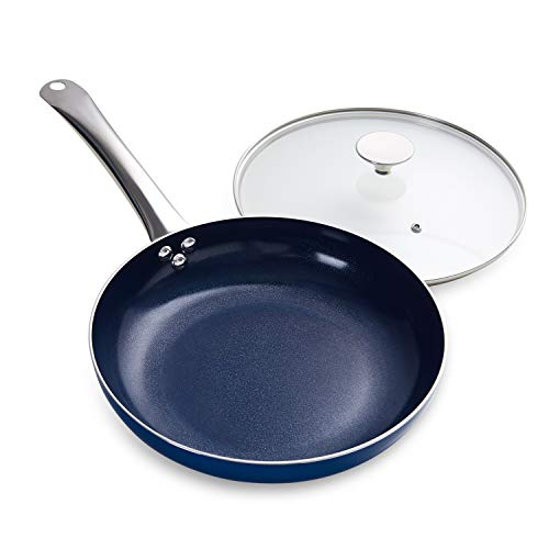 MICHELANGELO 10 Inch Frying Pan with Lid, Blue Frying Pan Nonstick Skillet with Lid & Diamond Coating, Nonstick Frying Pan, Diamond Fry Pan Blue, Nonstick Skillet 10 Inch Pan- Induction Compatible