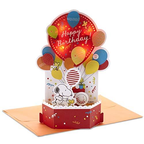 Hallmark 999RKW1001 Paper Wonder Peanuts Pop Up Geburtstagskarte mit Musik (Snoopy, Geburtstagsballons)