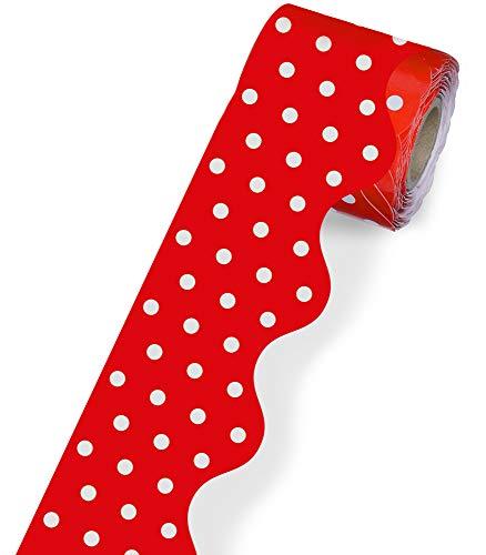 "Carson Dellosa Scalloped Bulletin Board Border—Red and White Polka Dot Rolled Border for Bulletin Boards, Desks, Locker Displays, Homeschool or Classroom Decor (2.25"" x 36')"