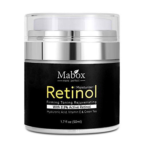 Mabox Retinol Moisturizer Cream for Face and Eye Area 1.7 Oz - With Retinol, Hyaluronic Acid, vitamin e and Green Tea. Night and Day Moisturizing Cream