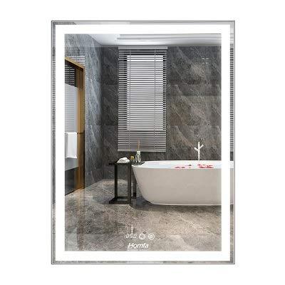 Homfa LED Badezimmerspiegel 60x80cm Badspiegel Wandspiegel Lichtspiegel Spiegel mit Beleuchtung 3 Farbtemperatur dimmbare LED Berührung Sensorschalter mit beschlagfrei und Zeit und eine Lupe