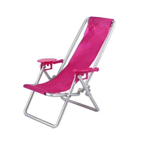YeahiBaby Puppenhaus Stuhl Mini Miniatur Stuhl Oxford Tuch einstellbar klappstuhl Eisen unterstützung Beine für Strand Bad mittag Pause (Rosy)
