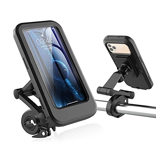 Piashow Soporte de teléfono móvil para bicicleta, giratorio 360°, impermeable,