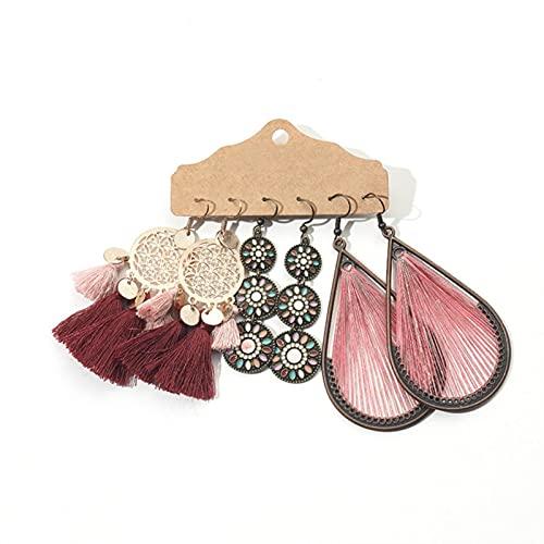 CXWK Conjuntos de Pendientes de Borla de Plumas étnicos, Paquetes para Mujeres, Pendientes de Gota de Agua de Metal Vintage, Regalos de joyería