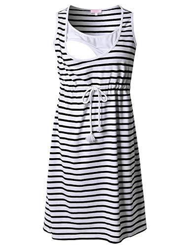 Bhome Summer Nursing Breastfeeding Tank Dress Sleeveless Striped Maternity Dress M