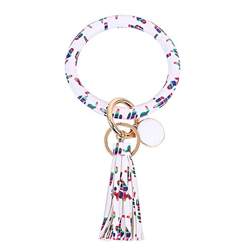 jieGorge Accessory, Fashion Trend Large Leather Bracelet Tassel Round Keychain Ring Jewelry Wristban, Clothing Shoes & Accessories (K Free Size)