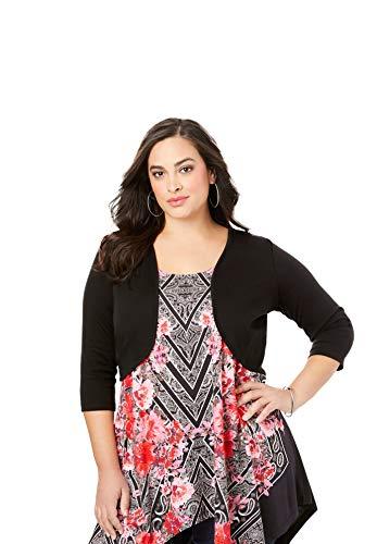 Roamans Women's Plus Size Bolero Cardigan with Three-Quarter Sleeves - 2X, Black