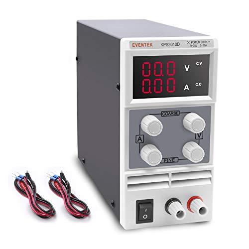 Labornetzgerät, Eventek 0-30V 0-10A DC Regelbar Netzgerät Stabilisiert Digitalanzeige Labornetzteil Netzteil Strommessgeräte