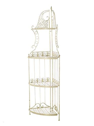 aubaho Eckregal Eisen Garten Gartenregal Creme Weiss 165cm antik Stil