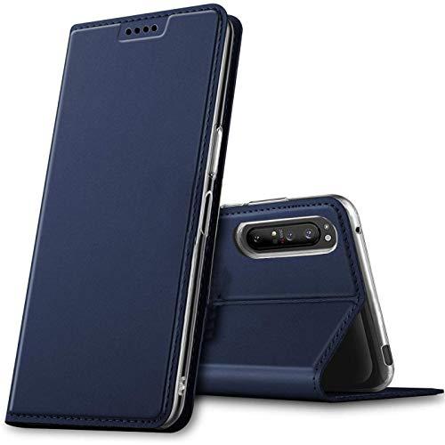 Verco Handyhülle für Sony Xperia 5 II, Premium Handy Flip Cover für Sony Xperia 5 II Hülle [integr. Magnet] Book Hülle PU Leder Tasche, Blau