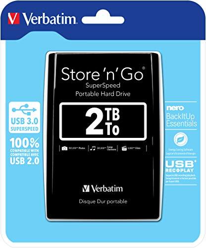 Verbatim Store 'N' Go - Hard Disk Esterno Portatile, USB 3.0, Nero, 2 Tb